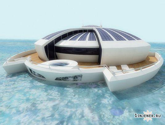 Концепт плавучего отеля с солнечными панеями