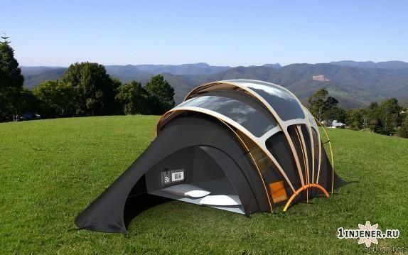 палатка из фотогальванической ткани